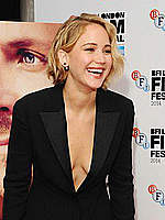 Jennifer Lawrence no bra under black jacket