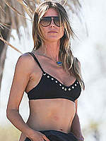 Heidi Klum in black bikini in Costa Rica