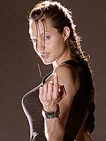 Angelina Jolie posing as Lara Croft