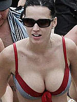 Katy Perry shows deep cleavage on the beach