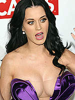 Katy Perry shows deep cleavage and panties