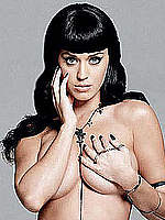Busty Katy Perry posing topless but covered